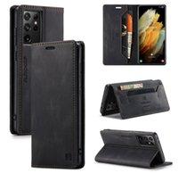 Custodie in pelle AutSpace per iPhone 13 12 Pro Max Mini 11 Samsung Galaxy S21 S20 Ultra Plus RFID Flip Portafoglio Portafoglio Caso del telefono Business