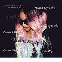 Пастельные фиолетовые розовые до льда голубого радуги цветной парик синтетический знаменитость Ciara Свободная волна волосы не кружевные парики кружевные фронтские парики для черной леди