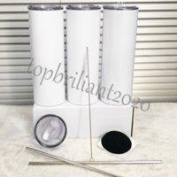 US magazzino 20 once 30oz 30 once di sublimazione Blanks dritto tumbler in acciaio inox in acciaio inox tazza bianca con coperchio in metallo cilindro di paglia bottiglia d'acqua caffè
