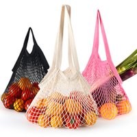Reusable Cotton Mesh Grocery Bags Washable Woven String Net Shopping Handbags Shopper Home Fruit Vegetable Market Storage Tote