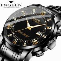 Herrenkalender Mode Lässig Business Watch ultradünne wasserdichte grenzüberschreitende Explosionsmodell schwarz Stahlband Quarzuhr 210325
