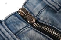 Fabrikfabrik CH Crosin-Frauen doppelseitig Reißverschluss Design Hohe Taille Denim Super Shorts