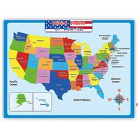 60*45cm America Map Wall Stickers Children Geography Learning Early Childhood Education Poster Walls Chart Classroom DHB7062