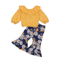 Clothing Sets Baby Girl Fall Clothes Suit Long-sleeved Ruffles Unique Floral T-shirt And Suspender Pants OR Trumpet Trousers 2021