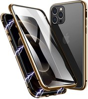 Magnetic Adsorption Metal Frame Case Front and Back Tempered Glass Full Screen Coverage for IPhone 12 PRO MAX Support Wireless Charging 100pcs lot