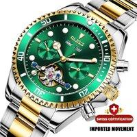 디자이너 럭셔리 브랜드 시계 OLEVS 남자 기계식 스테인레스 스틸 자동 방수 스포츠 선물