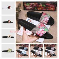 2021men Kadınlar Terlik Sandalet Lüks Tasarımcısı Doğru Çiçek Kutusu ile Toz Çanta Ayakkabı Yılan Baskı Slayt Yaz Geniş Düz Sandalet