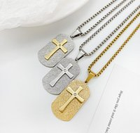 Sandy Stainless Steel Dog Tags Crystals Cross Pendant Necklaces for Men Rolo Chain 3mm 24 Inch Black Gold Silver