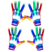 Led Glowing Gloves Unique Gifts Toys for Men Women Boys Girls Kids Halloween Christmas Flashing Light Up Skeleton Glove Costume Party Supplies