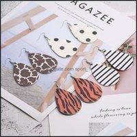 Charm Jewelryfashion Leopard Zebra Stripe Print Leather Vintage Boho Teardrop Double Side Dangle Earrings For Women Jewelry Aessories Drop D