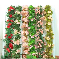 Decorative Flowers & Wreaths Silk Artificial Rose Vine Hanging For Wall Decoration Rattan Fake Plants Leaves Garland Romantic Wedding Home