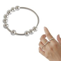 Cluster Rings Anxiety Ring Balls For Women Fidgets Spinner Beads Rotating Freely Anti Stress Accessories Release Jewelry
