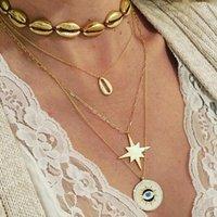 Collar colgante de la concha de metal de la vendimia para las mujeres de la geometría de múltiples capas de la geometría del círculo de los ojos del encanto de la joyería femenina collares