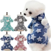 Dog Apparel Winter Warm Soft Fleece Pet Cat Clothes Star Print Puppy Coat Pets Hooded For Small Medium Dogs Christmas