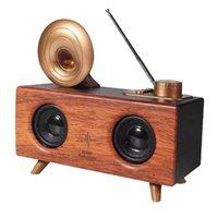 Sem fio Bluetooth retro o cartão de rádio ao ar livre portátil mini alto-falante de madeira