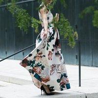Guyi повседневные летние платья женские праздники стиль V-образным вырезом без рукавов напечатанное платье