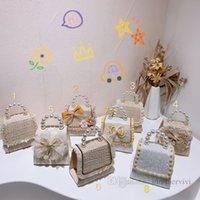 Flickor pärlor kedja handväskor barn pärlstav blommor spets gasbricka broderi bågar singel axelväska barn tofs torget box messenger väskor handväska Q0737