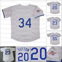 Jersey de béisbol retro 1988 Inicio Jerseys 2 Lasorda 23 Kirk Gibson 20 Don Sutton 55 Orel Hershiser 81 González Pujols