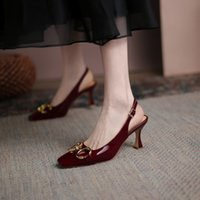 High Heeled French Spring and Summer New Shallow Mouth Single Shoes Banew Empty Baotou Sandals Thin Heel Cowhide Women's LW4V
