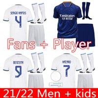 Jersey Real Madrid 21 22 Hommes Kit Kit Kit de football Hazard Sergio Ramos Benzema Asensio Camiseta 2021 2022 Version du joueur de quatrième fans
