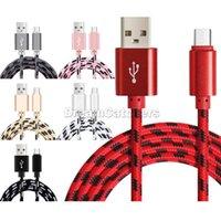Cable USB de alta velocidad Tipo C Datos Sincronización de cable de carga Espesor de alambre de nylon fuerte 2A Micro Cargador Cable de cables para Samsung Smart Phone 1M 2M 3M 3FT 6FT 10FT colorido