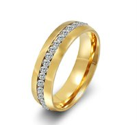 Gevuld Tungsten Gold Topklasse 18K Rhinestones CZ Diamond Studded Wedding Band Ring Dames Retail 1zea