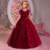 2021 Pageant Star Applique Girl DrWedding Kids Bridesmaid Dresses For Girl Children Costume Lace Long PrincRetro Clothes X0509