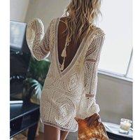 Ayualin Sexy Backless Beach Swim Cobertura Vestidos de Verão Branco Vestido de Laço Mulheres Túnica Robe Vintage V-Neck Boho Vestidos Plus Tamanho