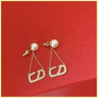 Femmes de concepteur boucles d'oreilles boucles d'oreilles femmes bijoux femmes lettre vlef diamant perle perle boucles d'oreilles boucles boucles d'oreilles 925 argent en gros 21082403R