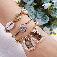 Link, Chain Gold Color Beads Tag Charm Bracelet Adjustable Copper Micro-Inlay Demon Eye Shell Jesus Virgin Mary Figure
