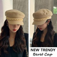 Berets Casual Solid Color Fashion Octagonal Beret Hat Peaked Cap Sboy With Chain