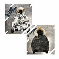 Canadá abajo chaqueta abrigo ganso de alta calidad blanco camuflaje parka invierno hombres mujeres # 1234 n8wi #