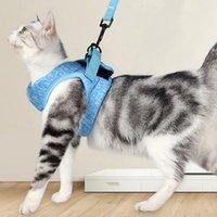 Escape Proof Cat Vest Vest Harness وقاعة السيارة محول قابل للتعديل شبكة ناعمة عاكسة ل kitten جرو 1 الياقات يؤدي