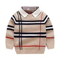 Moda Moda Malha Malha Algodão Pullover Sweater 6 Cores Christmas Crianças Impresso Desenhador Estilo Blocos Jumper Lã Misturas Meninos Meninas 2-8y Boutique roupas roupas