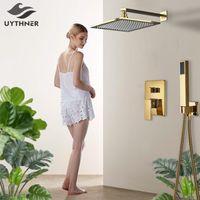 Uytner banheiro torneira de ouro chuva banho de chuveiro montado mixer conjunto de torneira conjuntos