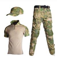 Tactical Suit Military Uniform Camouflage Abiti maniche corte Caccia camicie da caccia Pantaloni Cap Kit completo Airsoft Paintball Vestiti set