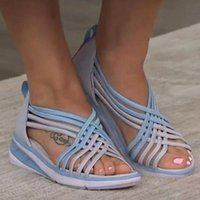 Sandals Women Summer Fashion Casual Mixed Color Peep Toe Ladies Slip On Shoes Plus Size Hollow Wedges Female Sandalias Mujer