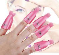 Gül Kırmızı Plastik Nail Art Kapalı Kapalı Klip UV Jel Lehçe Sökücü Wrap Aracı İpuçları Parmaklar Için 10ppcs / Set
