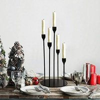 Candle Holders Black For Taper Candles,Metal 5 Arms Candelabra Table Centerpieces,Christmas Halloween Fireplace Decoration 478
