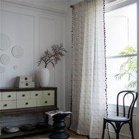 1.5m largura doméstica cozinha sala de sala de estar quarto geométrico padrão borla cortina cortina