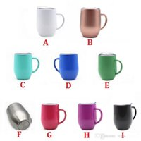 Insulated Wine Tumbler Durable Coffee Mug Stainless Steel Stemless Glasses with Lid and handgrip Double Wall 12oz for Champaign, Cocktail, Beer, Office