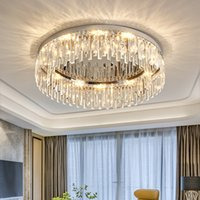 LED Modern K9 Crystal Ceiling Lights Fixture Round Silver Stainless Steel Hanging Lamps American Luxury 3 White Color Dimmable Diameter 100cm 80cm 60cm 45cm