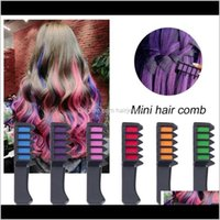 Colors Care & Tools Products Drop Delivery 2021 Wholesale 6 Color Disposable Comb Temporary Chalk Dye Cosplay Party Hair Styling Dyeing Tool