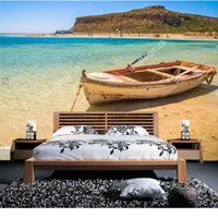 Wallpapers Natural Scenery Wallpaper,Fishing Boat Docked To Coast On The Beach Of Crete, Po For Living Room Bedroom Wall Wallpaper