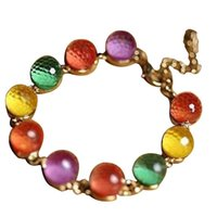 Artificial Crystal Home Round Beads Party Braided Dating Colorful Travel Office Shopping Women Bracelet Charm Bracelets