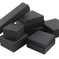 Boîte à bijoux carré / rectangle Boîte d'oreilles pour boucles d'oreilles Collier Bracelet Affichage Boîte cadeau Boîte d'emballage Boîtes en carton Noir 922 Q2