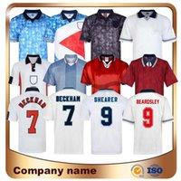 1982 1986 2002 2008 Inglaterra Retro Futebol Jersey 1990 1994 1998 1998 Beckham Shearer Gascoigne Owen Gerrard Scholes Futebol Camisa Uniformes