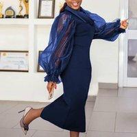 فساتين عارضة أومي المرأة الأزرق سليم اللباس المرقعة طويلة الأكمام س الرقبة انظر من خلال أنيقة bodycon ميدي 2021 أنثى الملابس vestidos