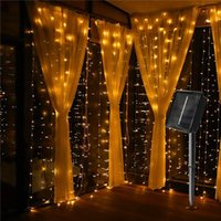 Strips Solar 300 LED Window Curtain Fairy Lights Copper Wire String Light For Outdoor Wedding Party Garden Bedroom Christmas Decoration