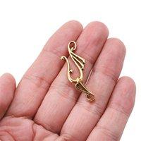 10sets / Лот антикварная музыкальная нота для тумблер CLASPS S Форма Крючка Подходит для ожерелья Браслет для ювелирных изделий Аксессуары 1561 Q2